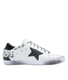 AnnaKastle Womens Low Top Rhinestone Sneakers White