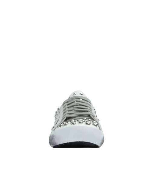 AnnaKastle Womens Low Top Metal Studded Sneakers White