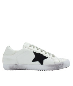 AnnaKastle Womens Star Patch White Low Top Sneakers