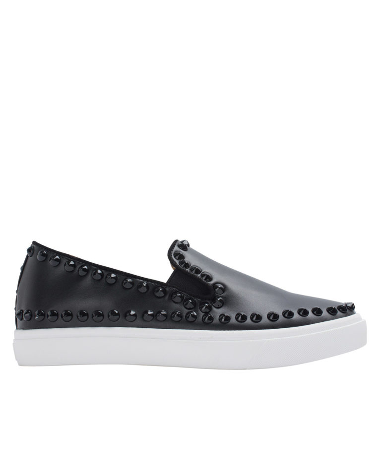 AnnaKastle Womens Studs Trimmed Skate Slip On Shoes Black