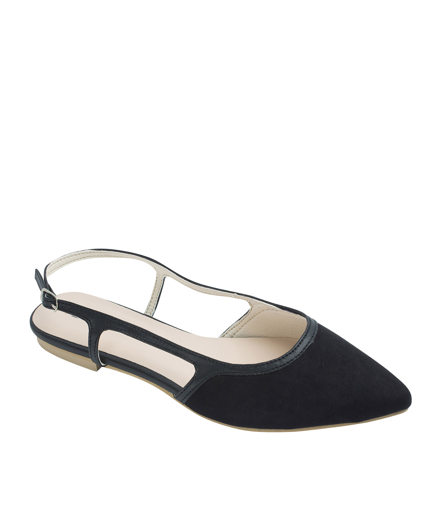 AnnaKastle Womens Faux Suede Pointed Toe Slingback Flats Black