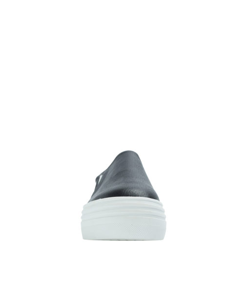 AnnaKastle Womens Classic Faux Leather Platform Slip-On Sneakers Black