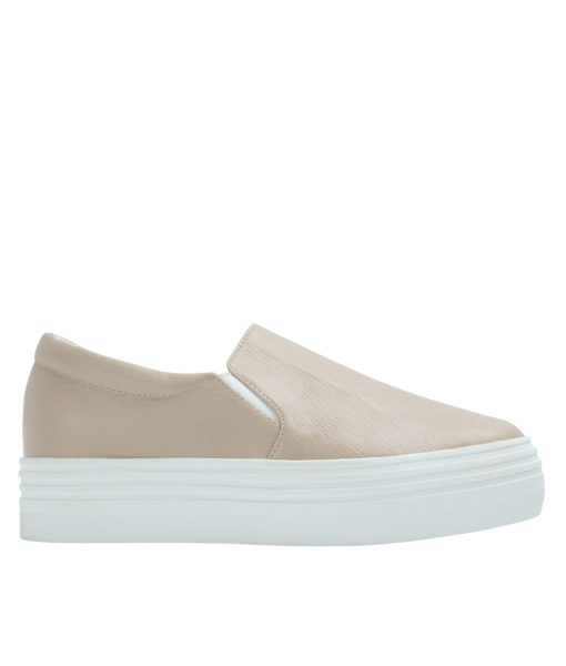 AnnaKastle Womens Classic Faux Leather Platform Slip-On Sneakers Light Taupe