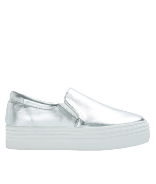 AnnaKastle Womens Classic Faux Leather Platform Slip-On Sneakers Silver