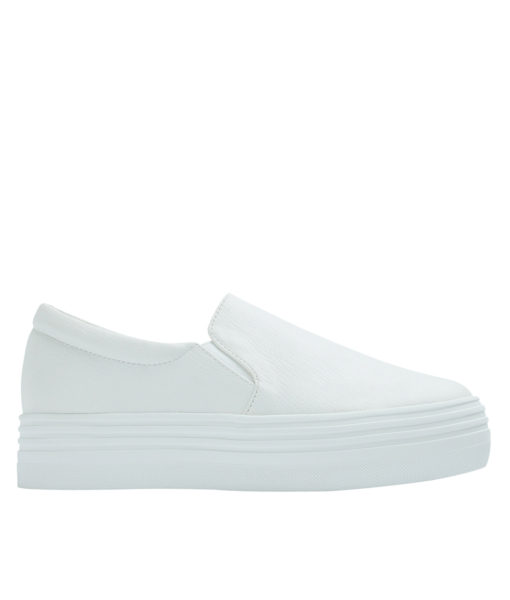 AnnaKastle Womens Classic Faux Leather Platform Slip-On Sneakers White
