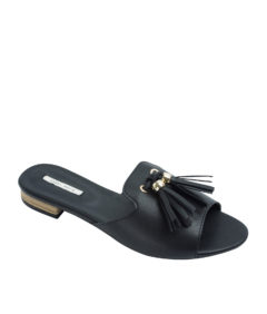 AnnaKastle Womens Faux Leather Tassel Slides Black