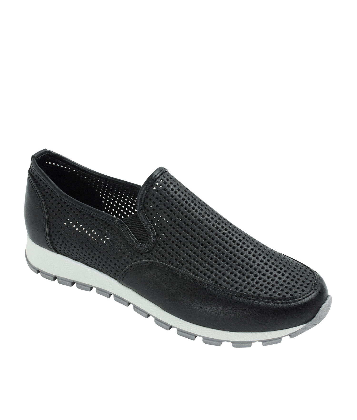 AnnaKastle Womens Perforated Slip-On Sneakers Black
