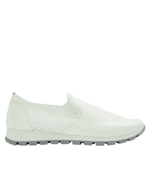 AnnaKastle Womens Perforated Slip-On Sneakers White