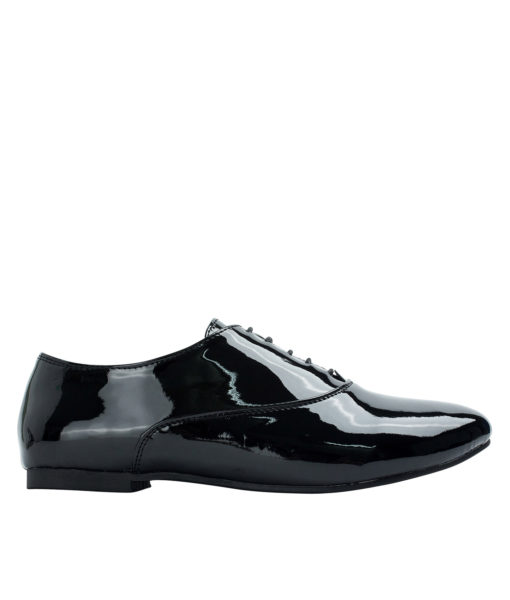 Annakastle Womens Faux Patent Leather Oxfords Black