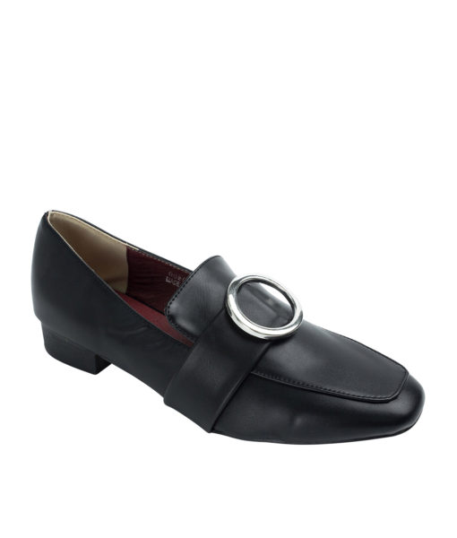 AnnaKastle Womens Silver Ring Buckle Loafers Black