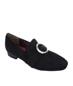 AnnaKastle Womens Silver Ring Buckle Loafers Black Suede