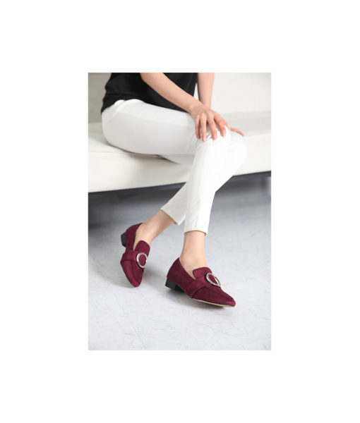 AnnaKastle Womens Silver Ring Buckle Loafers Burgundy Suede