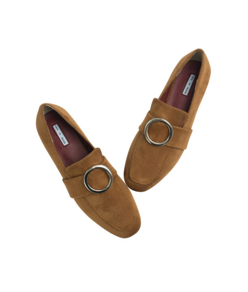 AnnaKastle Womens Silver Ring Buckle Loafers Cinnamon Suede