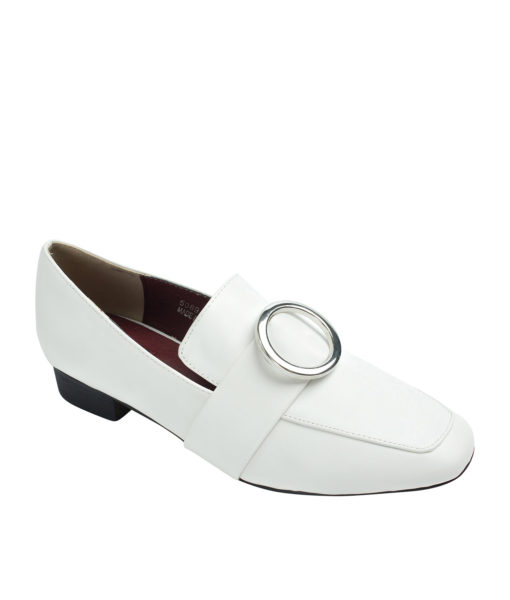 AnnaKastle Womens Silver Ring Buckle Loafers White