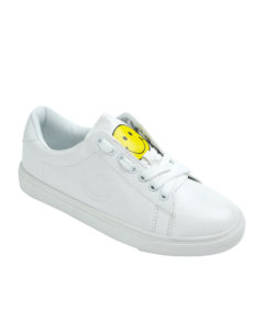AnnaKastle Womens Smiley White Tennis Sneakers