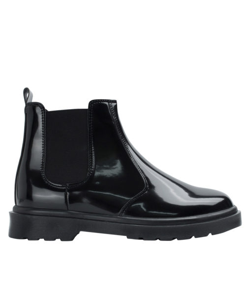 AnnaKastle Womens Black Leather Chelsea Boots Patent