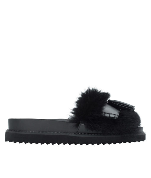 AnnaKastle Womens Cute Tassel Fur Slide Sandals Black