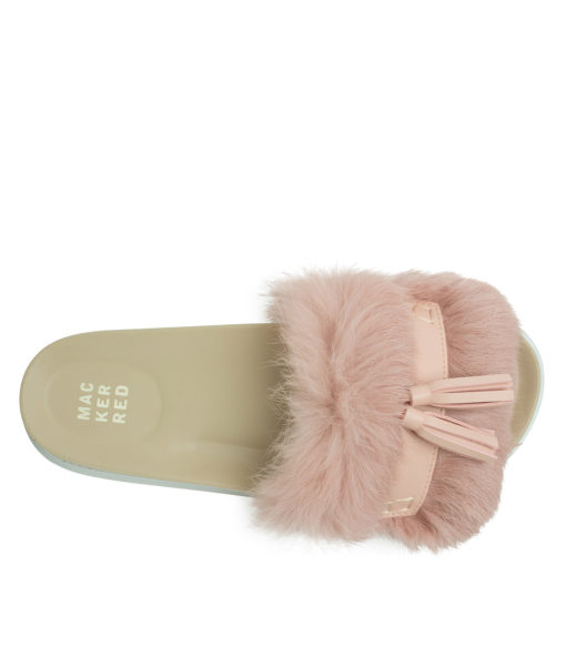 AnnaKastle Womens Cute Tassel Fur Slide Sandals Pink