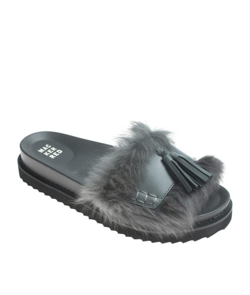 AnnaKastle Womens Cute Tassel Fur Slide Sandals Gray