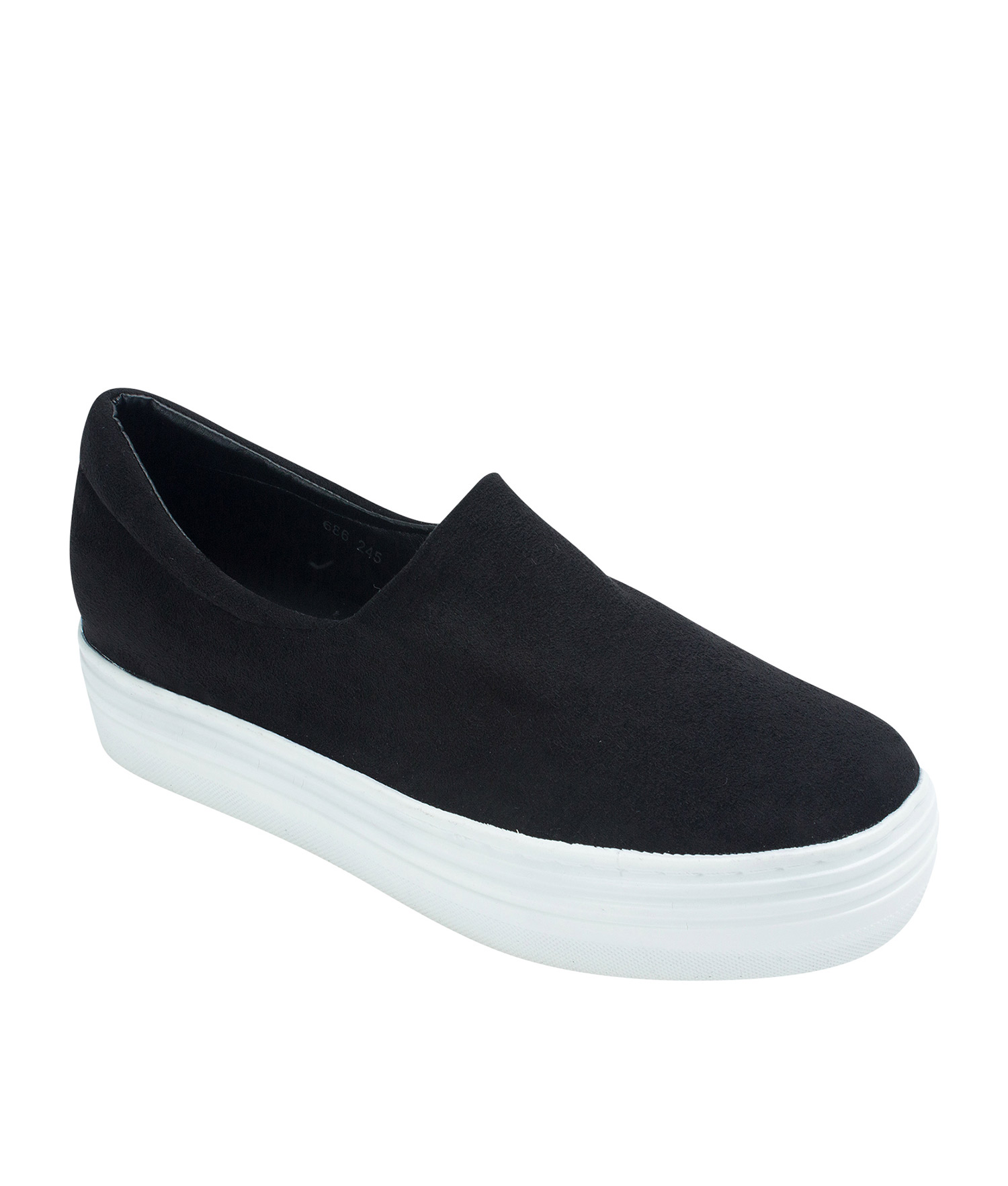 AnnaKastle Womens Faux Suede Stretch Slip-On Platform Sneakers Black