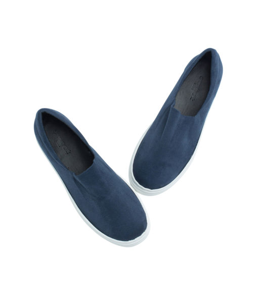 AnnaKastle Womens Faux Suede Stretch Slip-On Platform Sneakers Blue