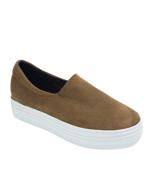 AnnaKastle Womens Faux Suede Stretch Slip-On Platform Sneakers Camel