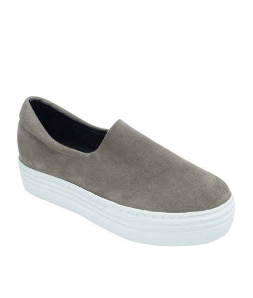 AnnaKastle Womens Faux Suede Stretch Slip-On Platform Sneakers Gray
