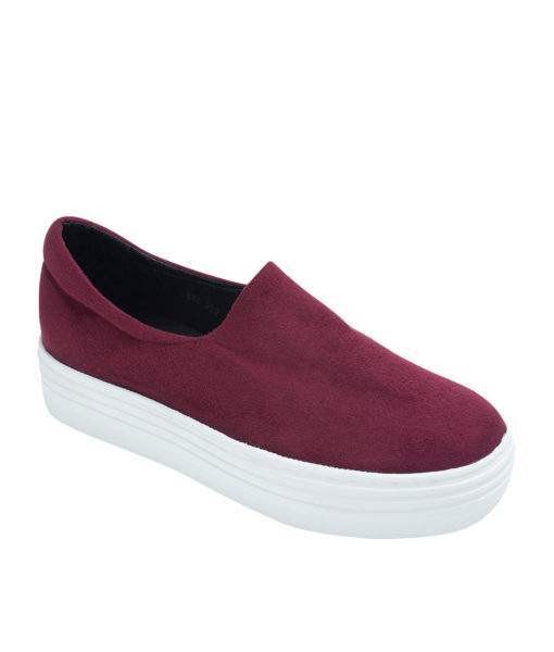 AnnaKastle Womens Faux Suede Stretch Slip-On Platform Sneakers Red