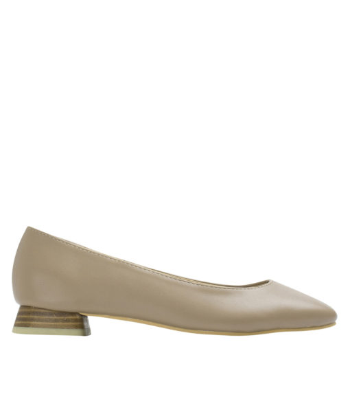 AnnaKastle Womens Square Toe Low Heel Pumps Beige