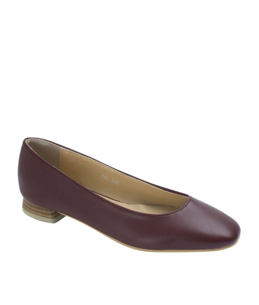 AnnaKastle Womens Square Toe Low Heel Pumps Wine