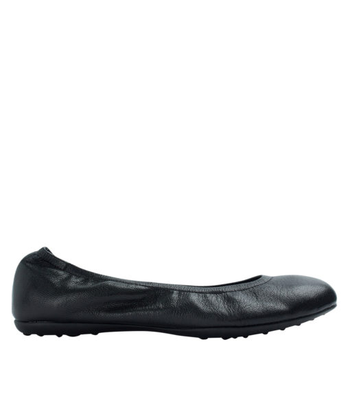 Annakastle Womens Genuine Leather Elastic Ballerina Flats Black