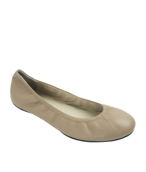 Annakastle Womens Genuine Leather Elastic Ballerina Flats Camel