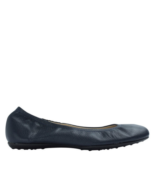 Annakastle Womens Genuine Leather Elastic Ballerina Flats Navy