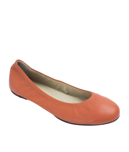 Annakastle Womens Genuine Leather Elastic Ballerina Flats Orange
