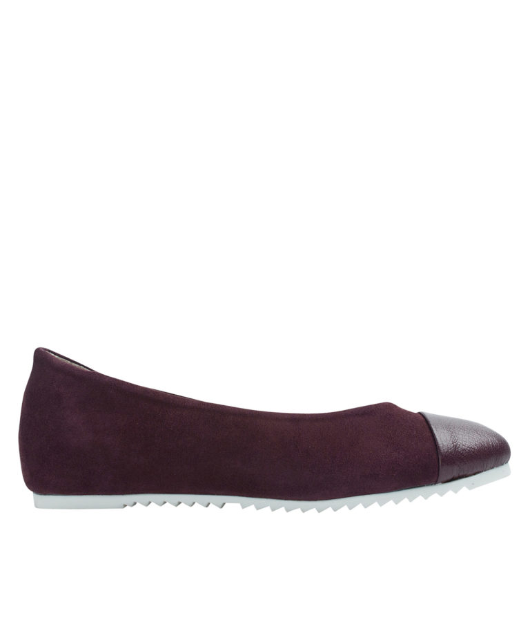 AnnaKastle Womens Cap Toe Suede Ballet Flats Wine