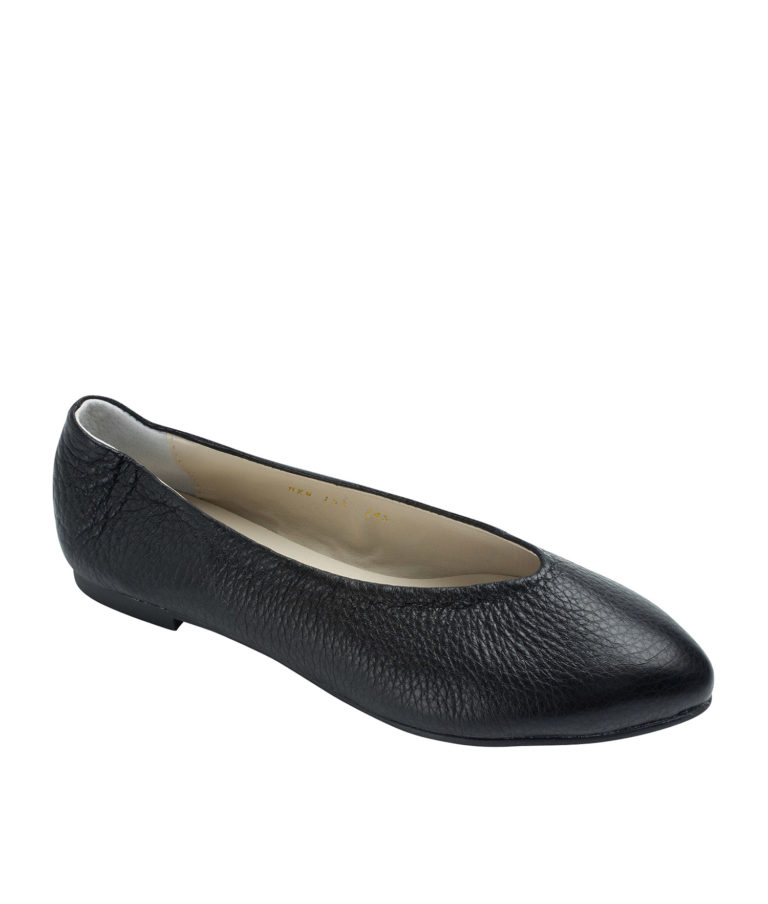 Annakastle Womens Pebbled Leather Pointed Toe Flats Black