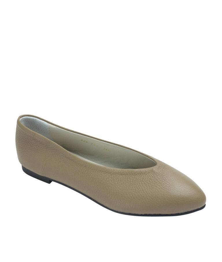 Annakastle Womens Pebbled Leather Pointed Toe Flats Pale Brown