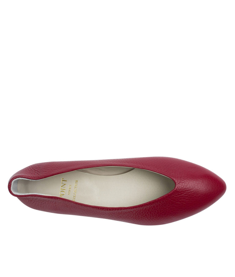 Annakastle Womens Pebbled Leather Pointed Toe Flats Red