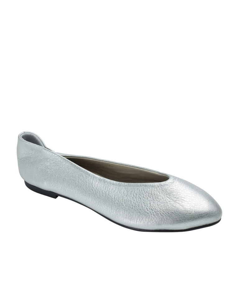 Annakastle Womens Pebbled Leather Pointed Toe Flats Silver