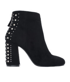 AnnaKastle Womens Faux Suede Studded Heel Ankle Boots Black