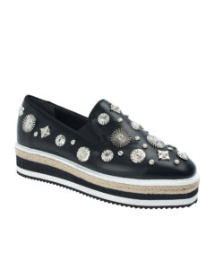 AnnaKastle Womens Studded Espadrilles Creeper Loafers Black