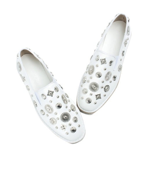 AnnaKastle Womens Studded Espadrilles Creeper Loafers White