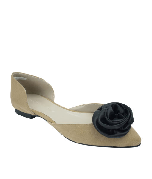 Annakastle Womens Satin Rose Suede d'Orsay Ballet Flats Beige