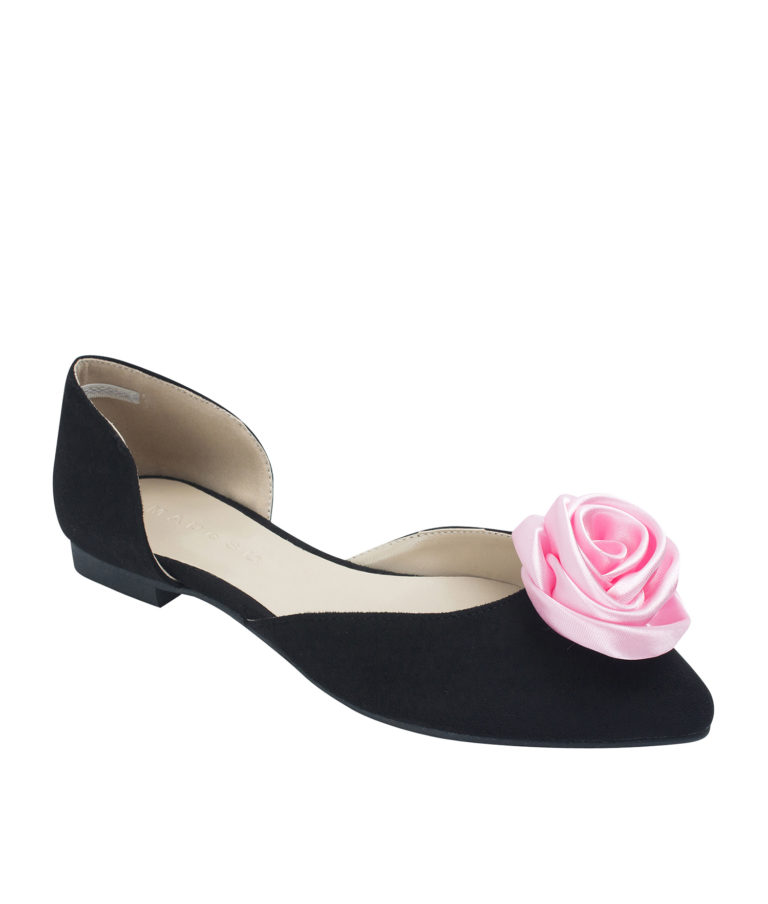 Annakastle Womens Satin Rose Suede d'Orsay Ballet Flats Black