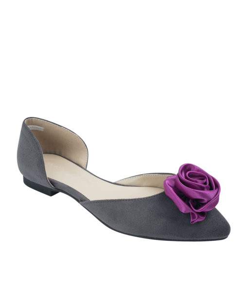 Annakastle Womens Satin Rose Suede d'Orsay Ballet Flats Gray