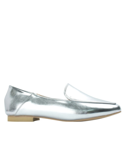 AnnaKastle Womens Square Moc Toe Foldable Heel Loafers Silver