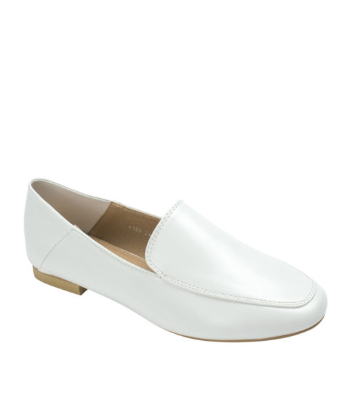 AnnaKastle Womens Square Moc Toe Foldable Heel Loafers White