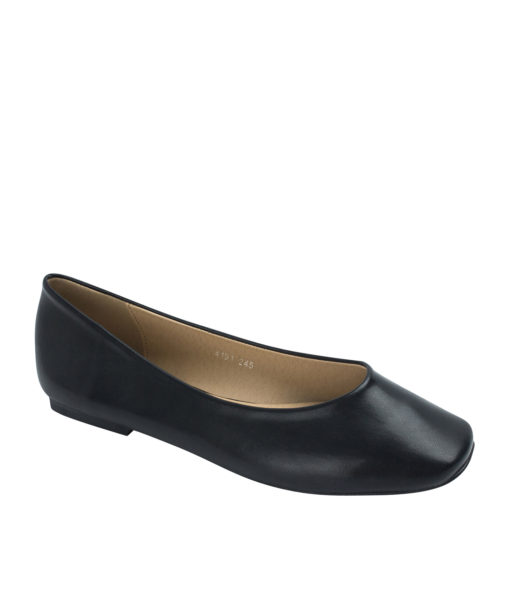 AnnaKastle Womens Classic Square Toe Ballet Flats Black