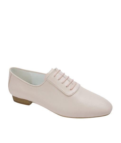 AnnaKastle Womens Sleek Leather Lace-Up Oxfords Pink