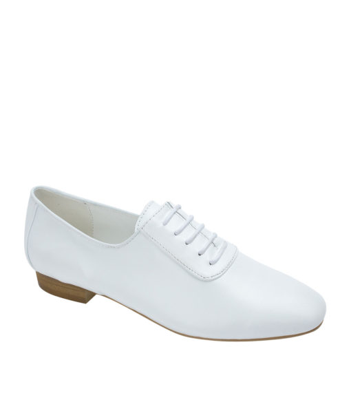 AnnaKastle Womens Sleek Leather Lace-Up Oxfords White